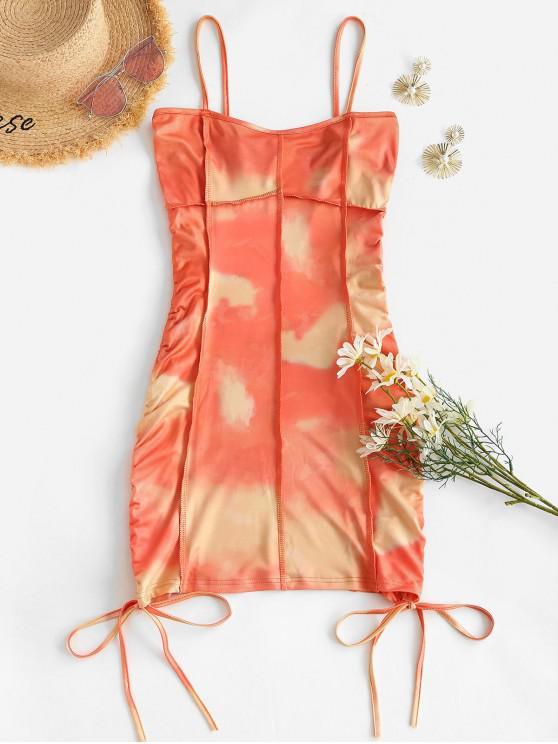 shop Stitching Tie Dye Cinched Side Mini Dress - ORANGE S