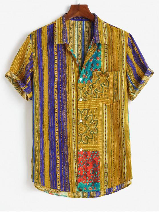 latest Tribal Floral Geo Print Pocket Patch Shirt - YELLOW 3XL