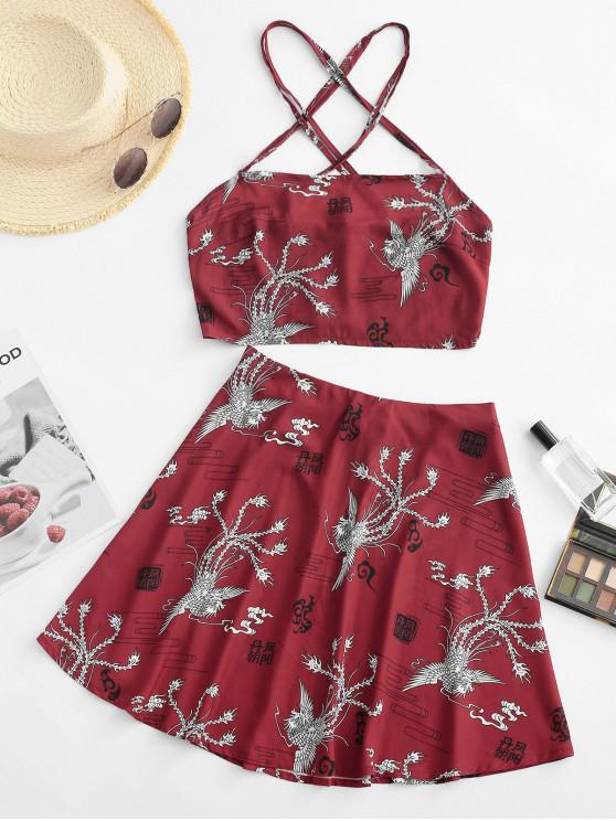 hot Criss Cross Oriental Phoenix Print Smocked Mini Skirt Set - RED S