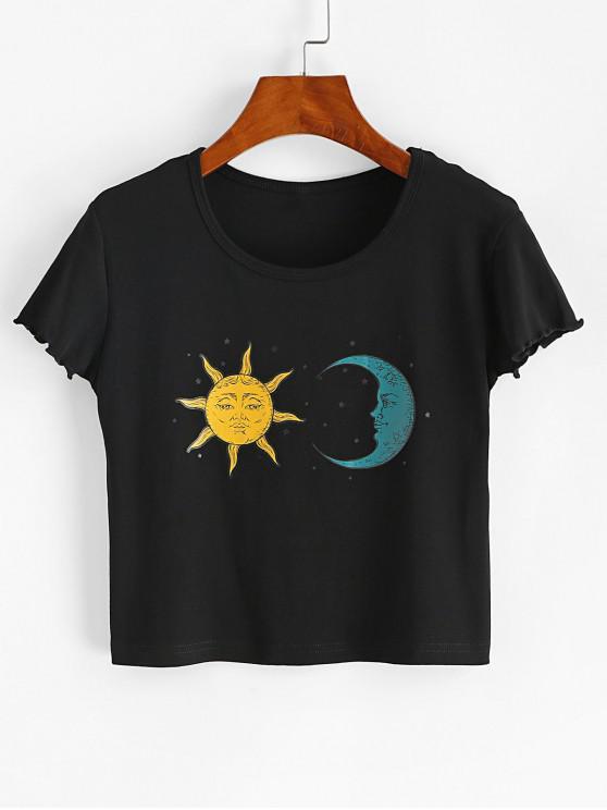 Alface Sol e da Lua Carta Gráfico Tee Cortado - Preto L