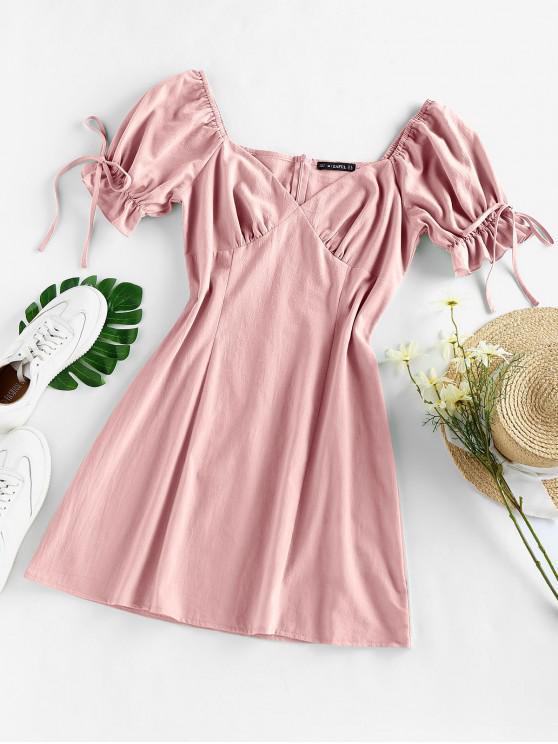 fashion ZAFUL Puff Sleeve Ruffle Bowknot Mini Dress - LIGHT PINK XL
