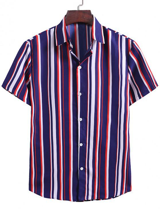 Kontrast Streifen Muster Knopf Hemd - Denim Dunkelblau 2XL