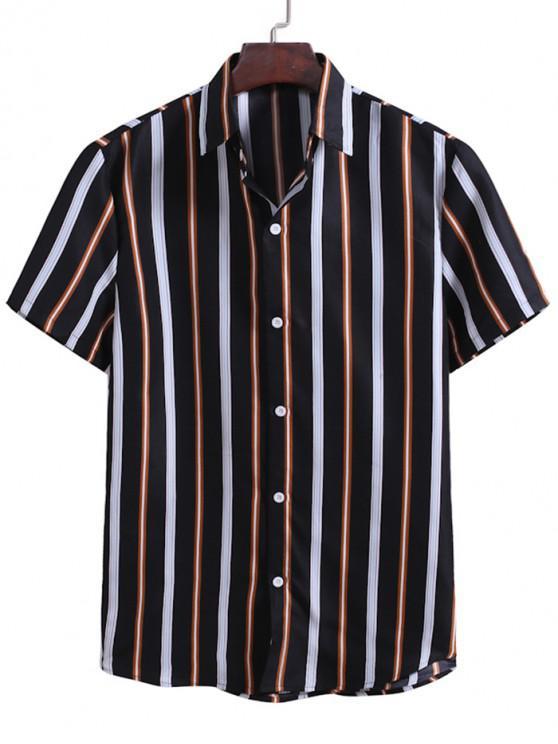 Camisa Rayada Contraste Estampado Botón - Negro L