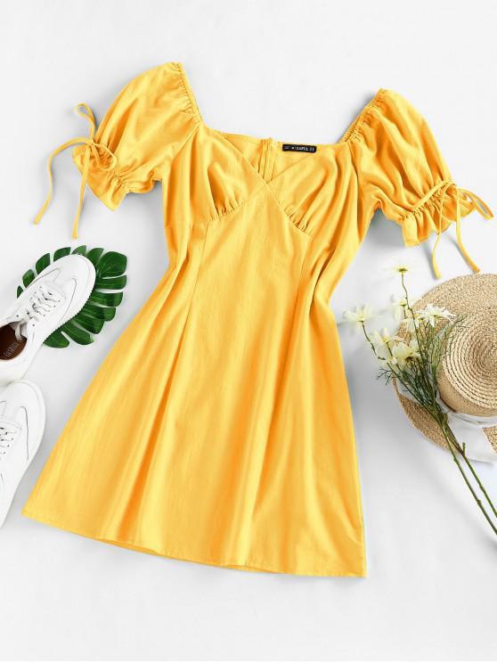 shops ZAFUL Puff Sleeve Ruffle Bowknot Mini Dress - YELLOW S
