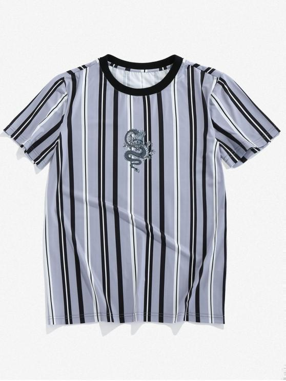 ZAFUL Dragon Striped Print T-shirt - رمادي فاتح S