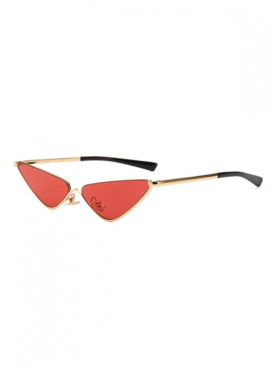 Narrow Triangle Metal Sunglasses - أحمر