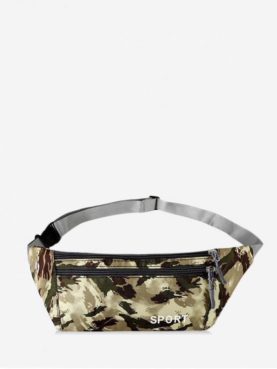 shop Camouflage Print Sports Waist Bag - LIGHT YELLOW