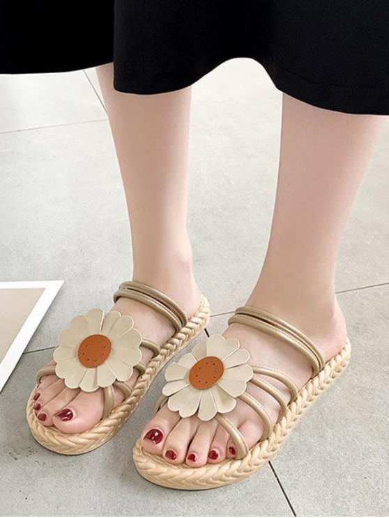 Flache Sandalen mit Sonnenblumendruck - Aprikose EU 39