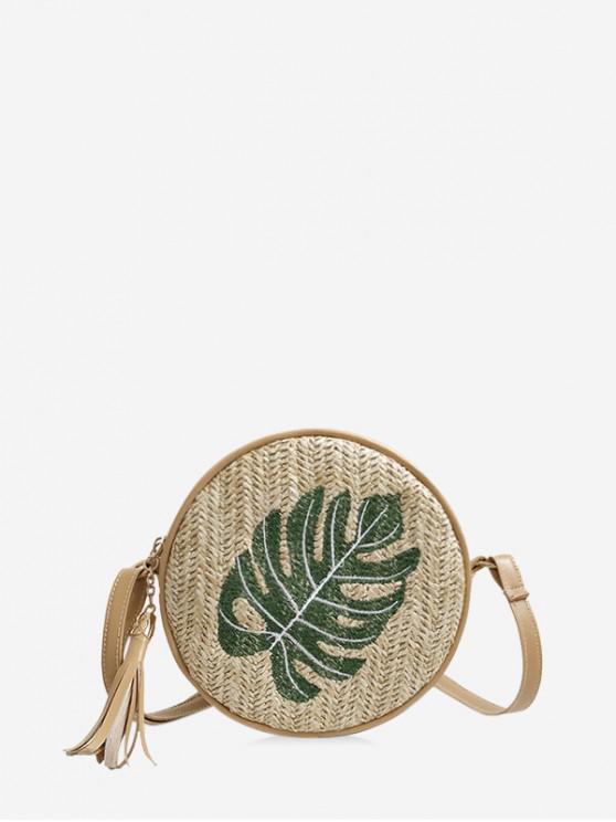 latest Pineapple Leaf Graphic Straw Round Crossbody Bag - LIGHT GREEN