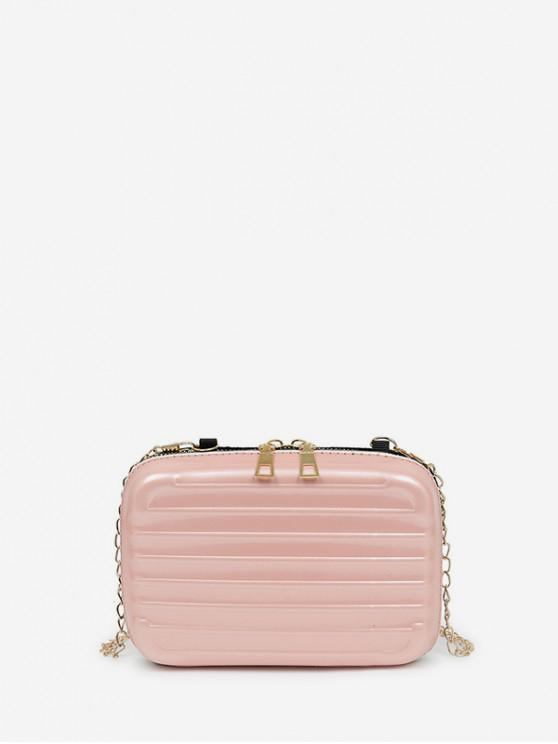 affordable Suitcase Shape Chain Crossbody Bag - LIGHT PINK
