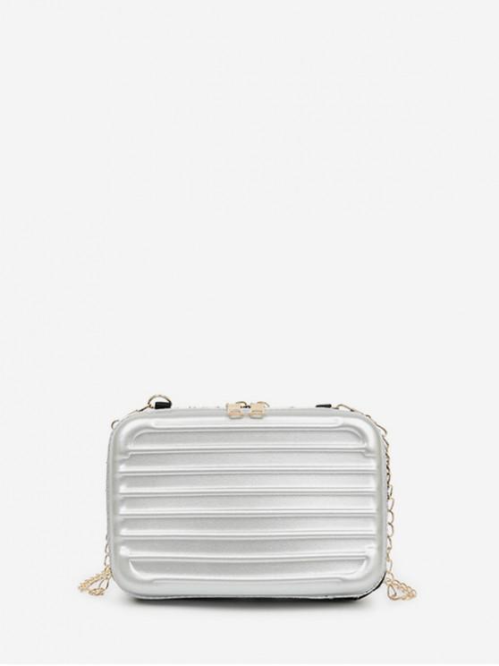 Suitcase Shape Chain Crossbody Bag - رمادي فاتح