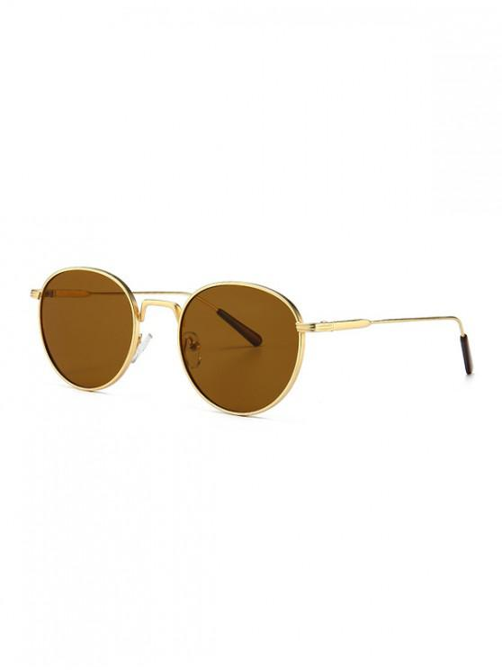 latest Retro Metal Round Sunglasses - BROWN