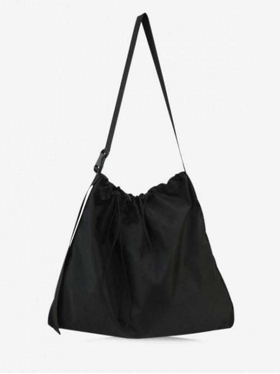 fancy Drawstring Oxford Cloth Shoulder Bag - BLACK