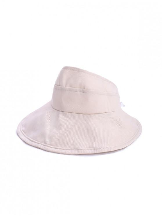 latest Foldable Sunproof Solid Wide Brim Visor Hat - BEIGE