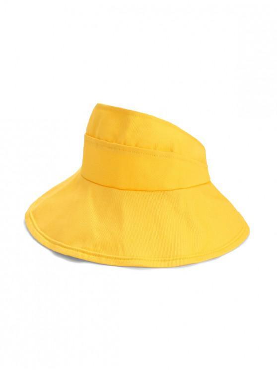 Chapéu De Tartã De Costura De Bordado Sólido - Amarelo Brilhante