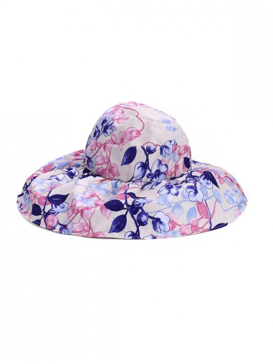 shop Foldable Flower Pattern Summer UV Protection Visor Cap - WARM WHITE