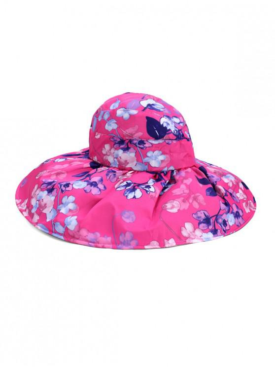 shops Foldable Flower Pattern Summer UV Protection Visor Cap - ROSE RED