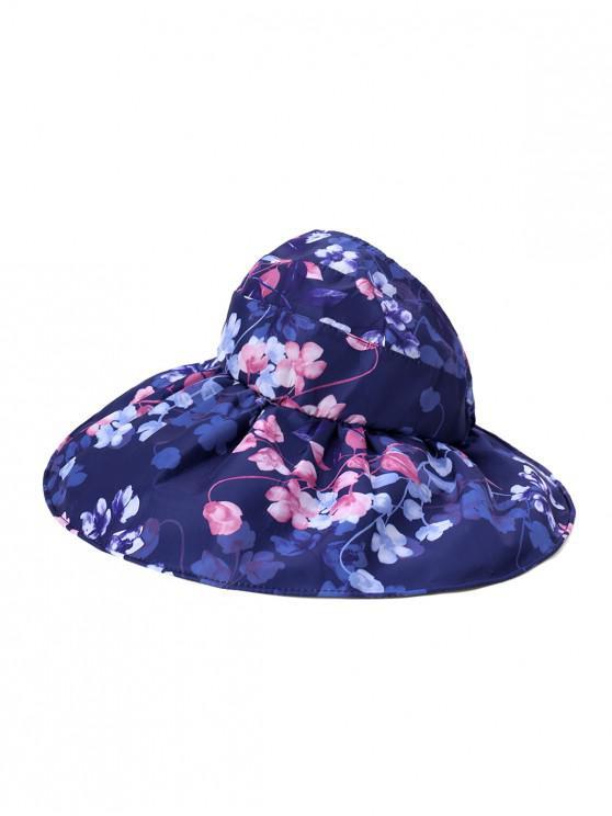 chic Foldable Flower Pattern Summer UV Protection Visor Cap - CADETBLUE