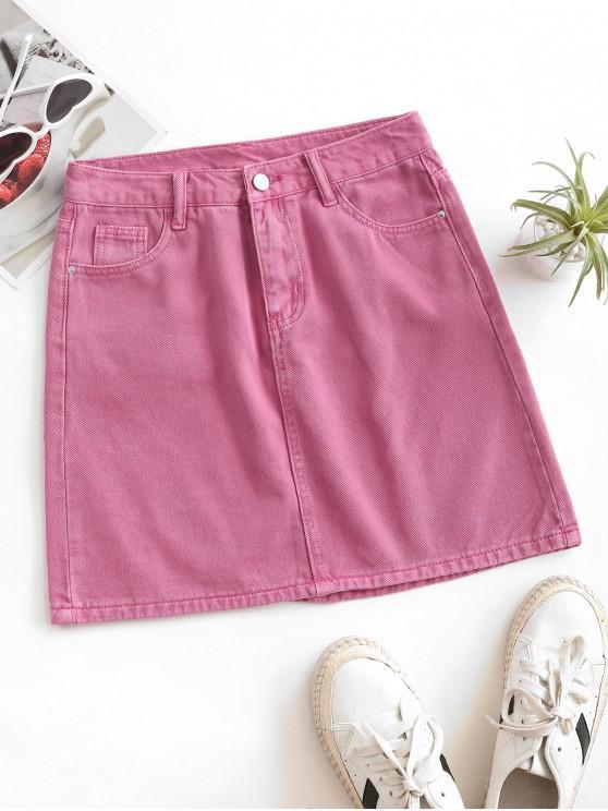 women's High Waisted Solid Denim Mini Skirt - LIGHT PINK L