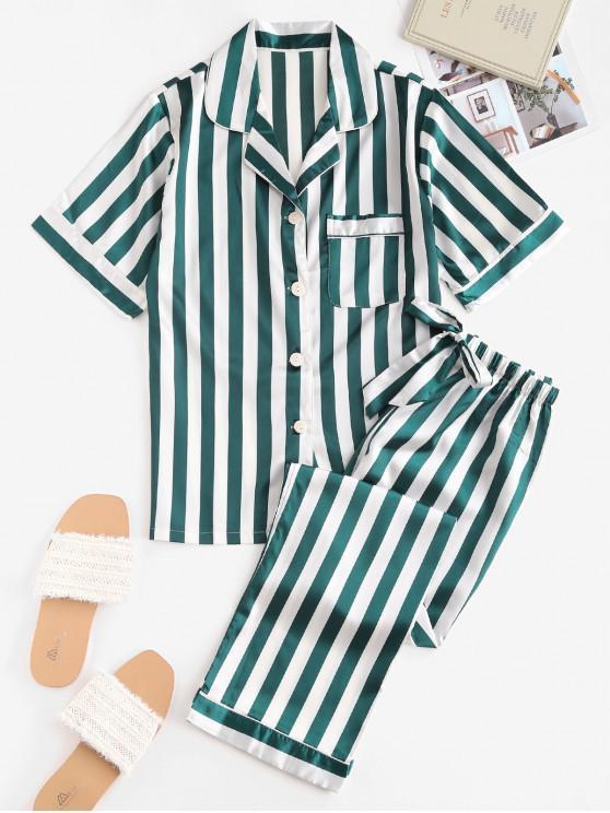 Conjunto de Pijama con Bolsillo Satén a Rayas - Verde Oscuro S