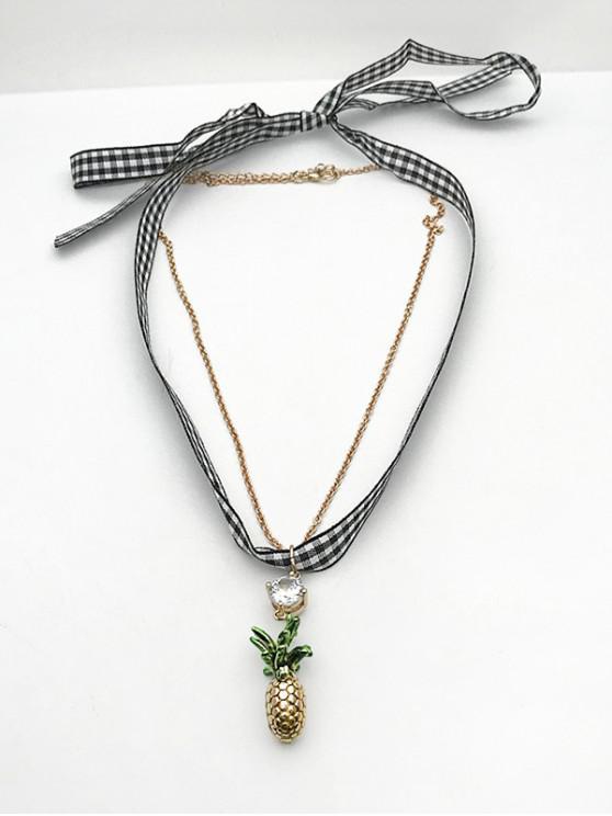 Plaid Print Pineapple Shape Layered Pendant Earrings - ذهبي