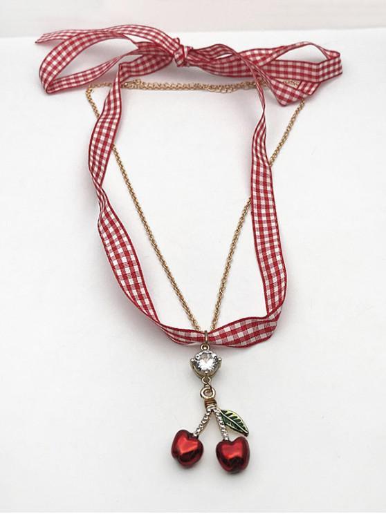 Plaid Print Cherry Shape Layered Pendant Necklaces - ذهبي