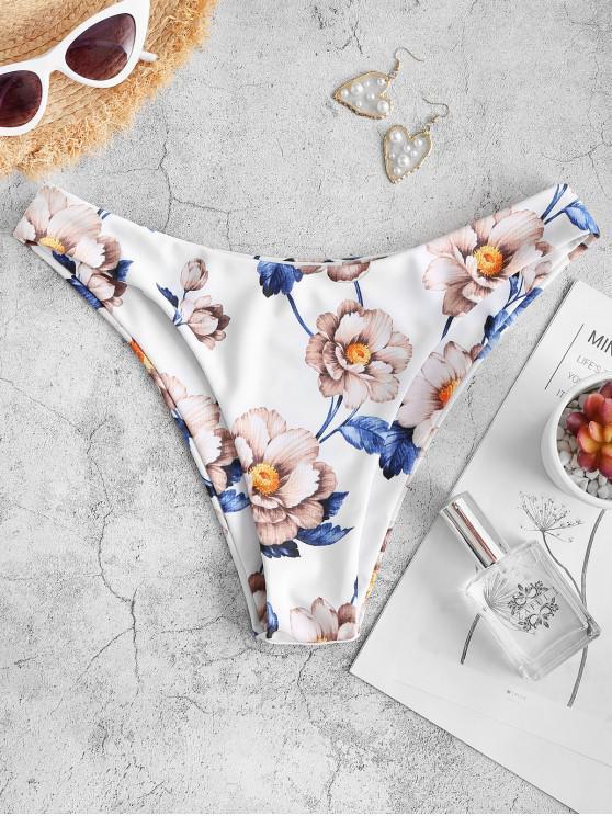 ZAFUL Blumendruck Basik Bikini Unterteile - Weiß S