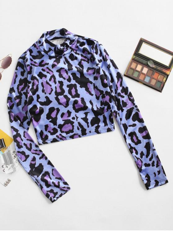 fashion Velvet Leopard Mock Neck Cropped Tee - BLUE S