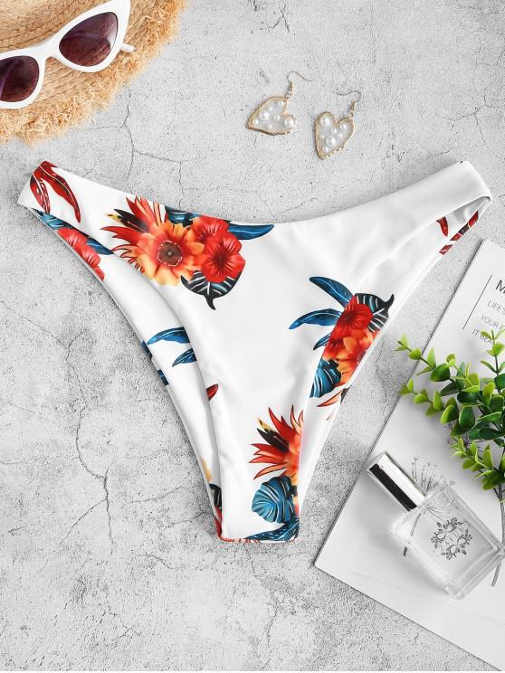 hot ZAFUL Flower Print Basic Bikini Bottom - DEEP GREEN M