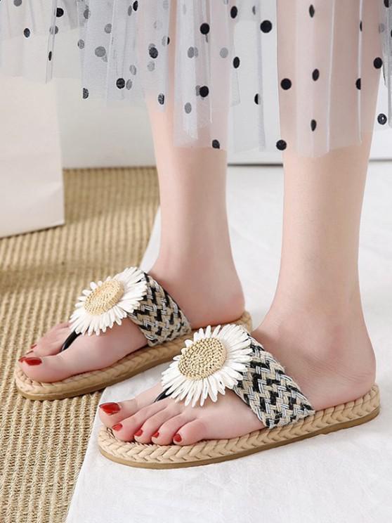 fancy Flower Detail Braided Flip Flops - BLACK EU 40