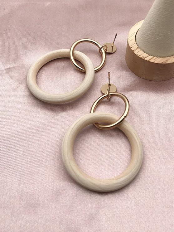 sale Circle Wooden Drop Earrings - GOLDEN