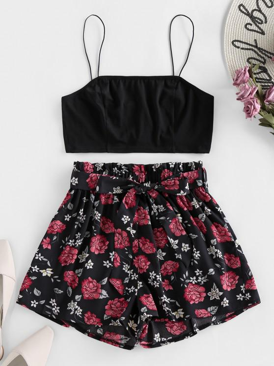 outfit ZAFUL Cami Crop Top and Floral Shorts Two Piece Set - BLACK M