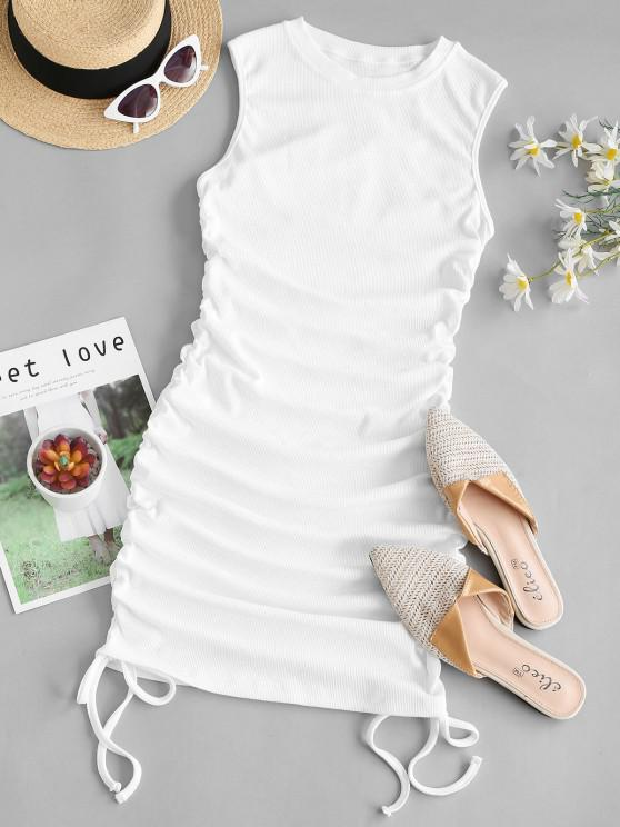 sale Ribbed Cinched Side Tank Dress - WHITE S