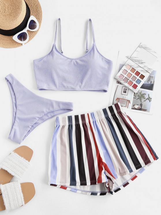 hot ZAFUL Striped Ribbed Three Piece Bikini Swimsuit - LIGHT PURPLE L