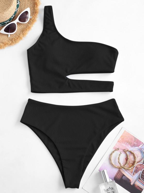 chic ZAFUL One Shoulder Cutout Ribbed Tankini Swimwear - BLACK M
