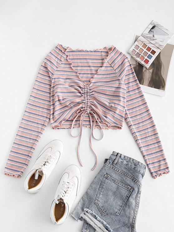 latest ZAFUL Ribbed Striped Cinched Lettuce Trim T-shirt - LIGHT PINK M