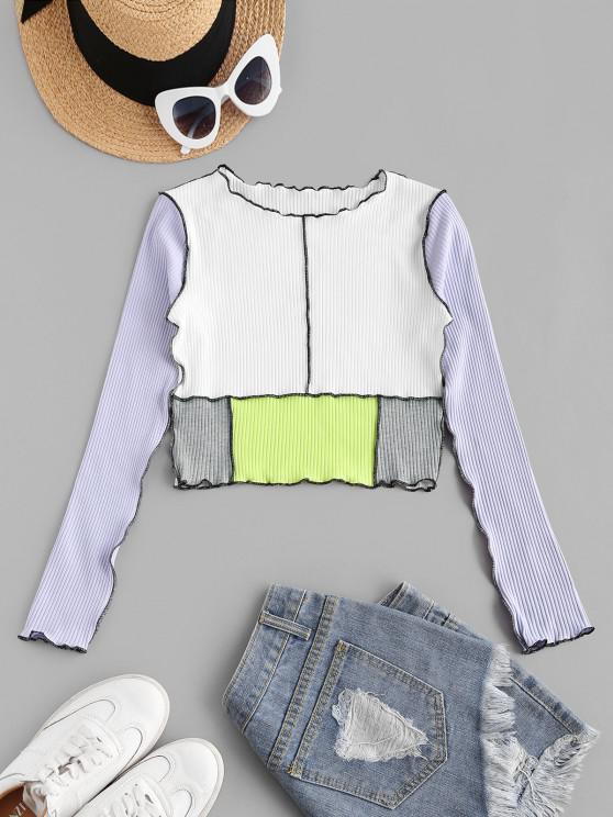 chic Topstitch Color Blocking Ribbed Lettuce Tee - LIGHT PURPLE S