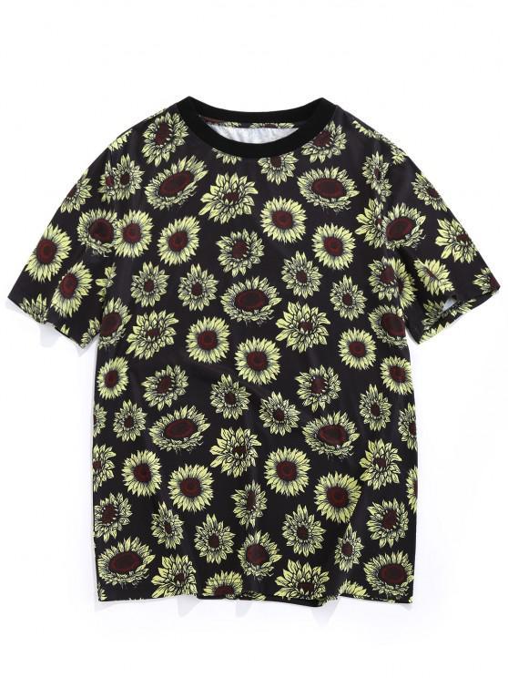 fashion ZAFUL Sunflower Print Vacation T-shirt - BLACK L