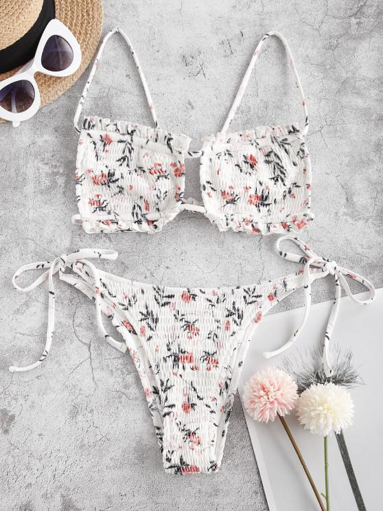 outfits ZAFUL Smocked On Flower - WHITE M