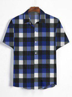 Gingham Print Short Sleeve Shirt - Denim Dark Blue 3xl