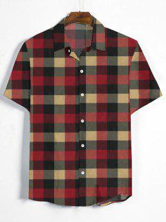 Gingham Print Short Sleeve Shirt - Multi-b 3xl