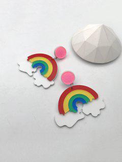 Cartoon Rainbow Clouds Drop Earrings - Multi