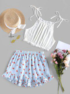 ZAFUL Tied Crop Top And Floral Shorts Two Piece Set - Day Sky Blue S