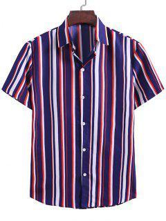 Contrast Stripes Pattern Button Up Shirt - Denim Dark Blue 2xl