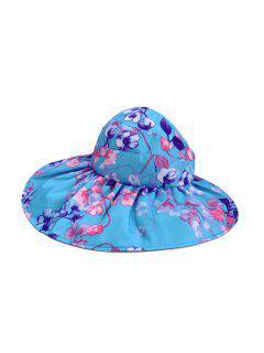 Foldable Flower Pattern Summer UV Protection Visor Cap - Deep Sky Blue