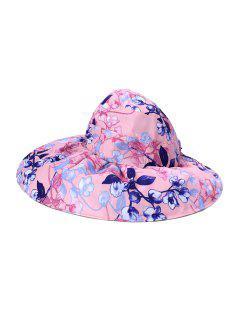 Casquette Visièred'Eté Pliable Protection UV Motif De Fleur - Rose