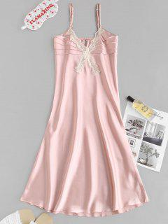 Lace Insert Satin Pintuck Pajama Dress - Light Pink M