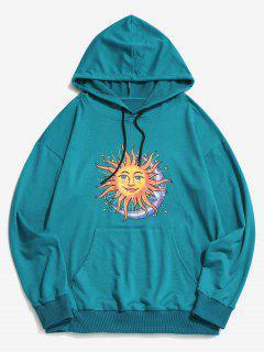 Sun Moon Stars Print Kangaroo Pocket Hoodie - Blue S