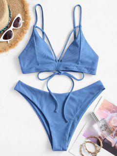 ZAFUL Ribbed Strappy Padded Bikini Swimwear - Light Blue S