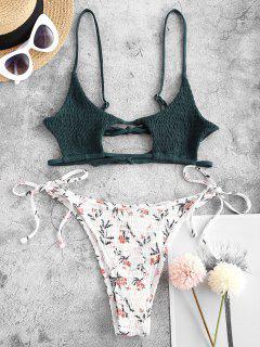 ZAFUL Maillot De Bain Bikini Découpé Fleur à Volants à Cordon - Rose Clair L